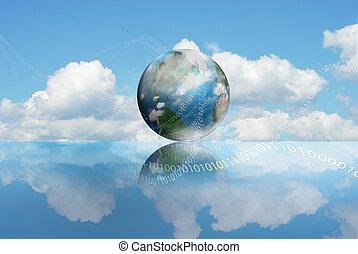 kiszámít, felhő, technológia