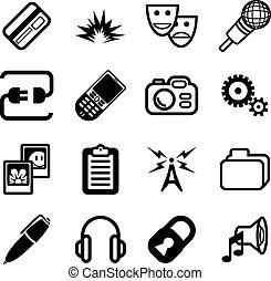 kiszámít, hálózat, ikon, sorozat