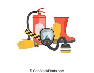 kiszabadítás, felszerelés, vektor, fire., oltalom, vagy, tools., extinguisher., elbocsát, tűzoltó, munka, set., állhatatos, rescuer., gáz álarc, biztonság
