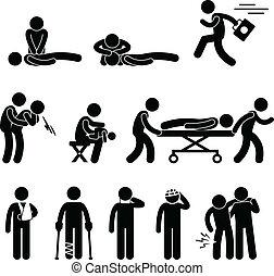 kiszabadítás, szükséghelyzet, segély, cpr, először, segítség