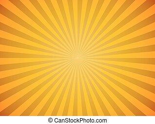 kitörés, nap, sárga, háttér., fényes, vektor, horizontális