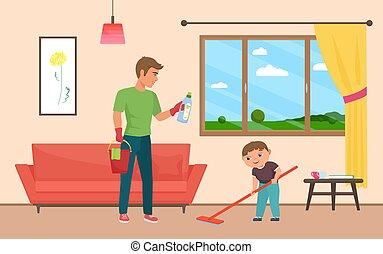 kitakarít, atya, együtt, otthon, család, fiú, háztartás, szoba, házimunka, csinos
