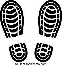 kitakarít, vektor, cipő, imprints