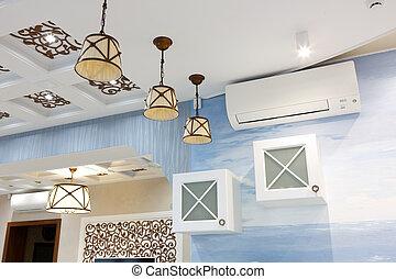 kitchen., kék, belső, ceiling., fehér, közfal