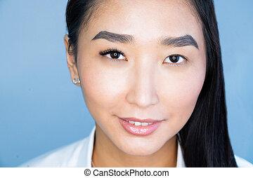 kiterjedés, portré, nő, ázsiai, szempilla, előbb, gyönyörű, megkettőz, after., procedure., hangerő, közben