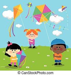 kites., repülés, gyerekek