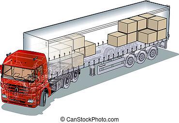 kivágott, semi-truck, infographics