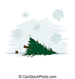 kivágott, vektor, fa erdő, ábra