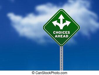 kiválasztások, előre, út cégtábla