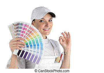 kiválasztott, szín, finally, kap, szobafestő