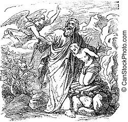 kivéve, betömött, angyal, abraham, rajz, szüret, bibliai, áldozat, isaac, haladó