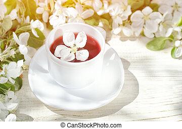 kivirul, tea, napos, háttér., bögre, fából való, fehér, nap