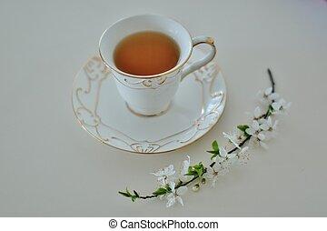 kivirul, tea, zöld, csésze