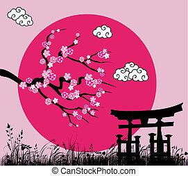 kivirul, -vector, tori, japán, ábra, sakura, kapu