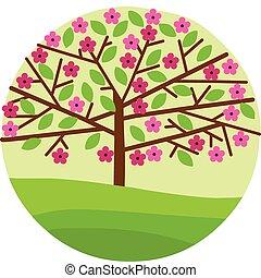 kivirul, visszaugrik virág, fa, őt lap