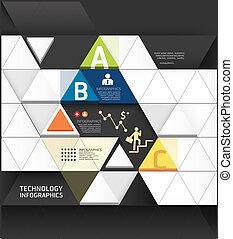 kivonat alakzat, infographic, tervezés, technológia, mód, alaprajz, /, sablon, infographics, kapcsoló, minimális, website, lenni, használt, háromszög, horizontális, számozott, grafikus, megvonalaz, vektor, konzerv, szalagcímek, vagy