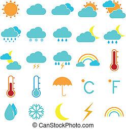 klíma, ikonok, szín, időjárás, háttér, fehér