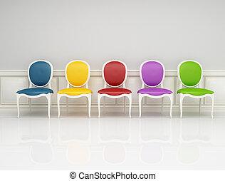 klasszikus, szék, színezett