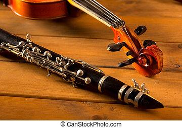 klasszikus, szüret, erdő, zene, hegedű, klarinét