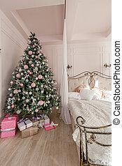 klasszikus, szoba, room., fény, klasszikus, reggel, díszes, fa., bedroom., belső, kandalló, white christmas