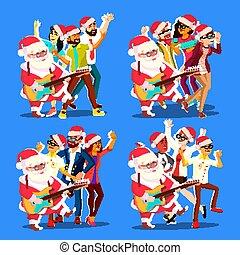 klaus, csoport, women., táncol., tánc, pozitív, férfiak, emberek, ábra, birtoklás, gitár, vektor, szent, móka, fél, karácsony, hands.