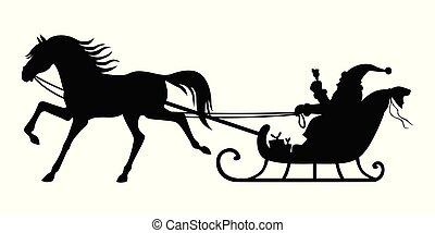 klaus, gördülni, sleigh, szent, lóvontatású