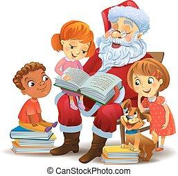 klaus, gyerekek, könyv, szent, felolvasás