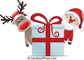 klaus, szent, karácsonyi ajándék, rénszarvas