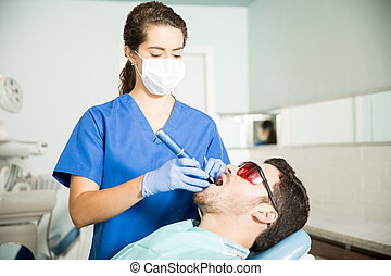 klinika, felfogó, fogász, ember, bánásmód