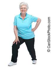 klub, bájos, egészség, senior woman