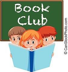 klub, fehér, könyv, transzparens, háttér