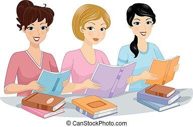 klub, könyv, lány