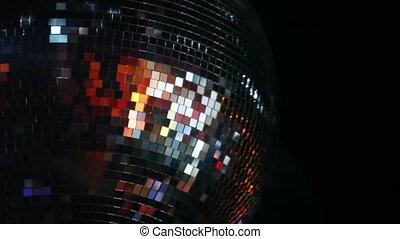 klub, mirror-ball, forog, plafon, éjszaka