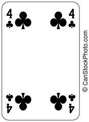 klub, piszkavas, játék kártya, 4