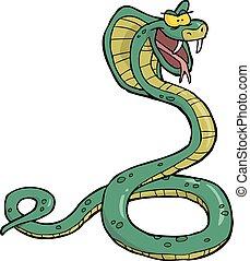 kobra, karikatúra, kígyó