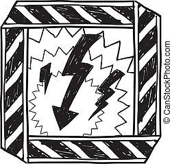 kockázat, elektromos, figyelmeztetés, skicc