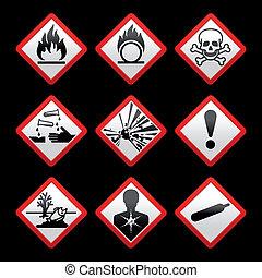 kockázat, jelkép, black háttér, cégtábla, biztonság, új