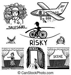 kockázatos, utazás, színhely, salesgirl, tinta, szökés, rajz, színésznő