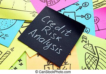 kockáztat, fekete, szavak, analízis, hitel, stick., memorandum