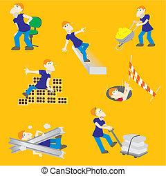 kockáztat, szerkesztés munkás, baleset