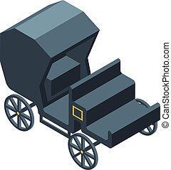 kocsi, csukott, mód, ikon, isometric