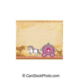 kocsi, grunge, háttér, ló, királyi