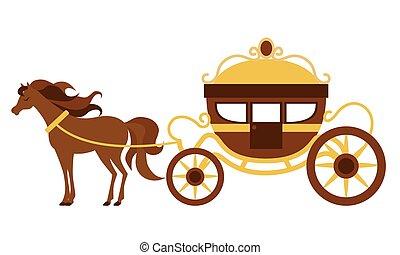 kocsi, gyönyörű, horse., vektor, ábra, szállít, szüret