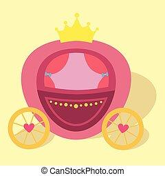kocsi, hercegnő, vektor, ló rajz, rózsaszínű