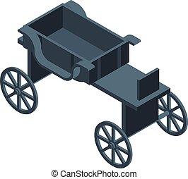 kocsi, ló, mód, ikon, isometric, fekete