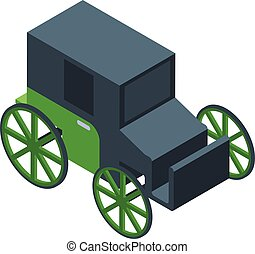 kocsi, ló, mód, ikon, isometric