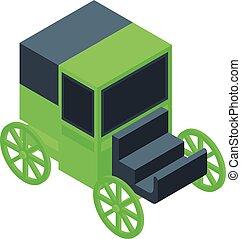 kocsi, ló, mód, retro, ikon, isometric