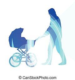 kocsi, színes, gyalogló, csecsemő, ábra, háttér, ember, apuka, sétálók, fogalom, árnykép