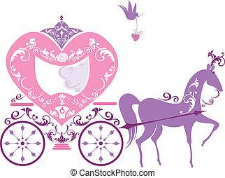 kocsi, szüret, fairytale, ló