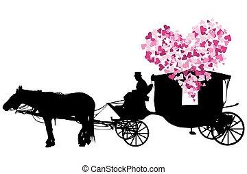 kocsi, szeret, white háttér